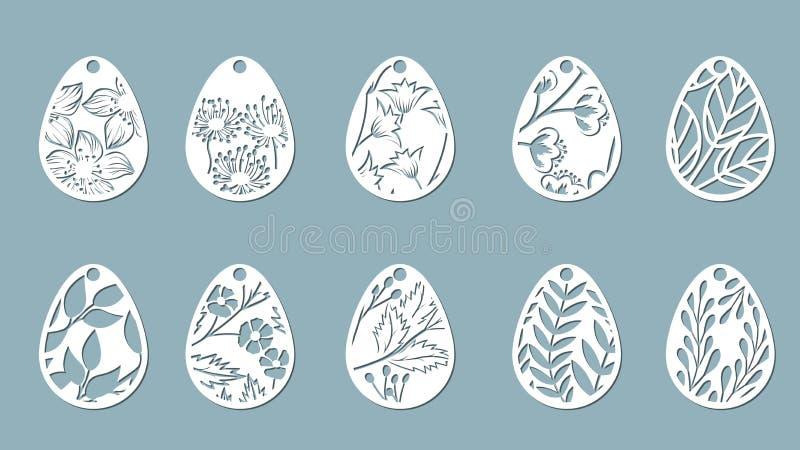 dandelion, bell, leaves, flowers, fern, chamomile carved in egg. Vector illustration. Easter eggs for Easter holidays. Set of pape royalty free illustration