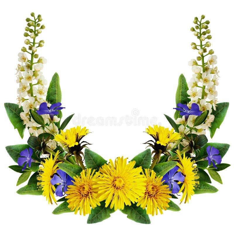Free Dandelion, Bird-cherry Tree Flowers And Periwinkles Frame Stock Image - 73435111