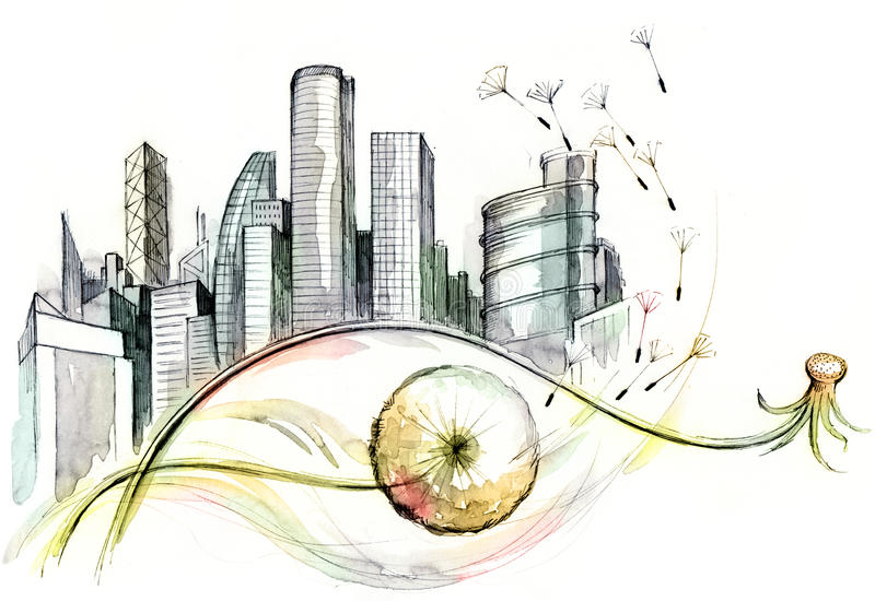 Dandelion city vector illustration