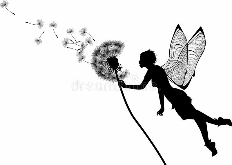 Dandelion Fairy. Silhouette graphic illustration depicting a dandelion and a fairy