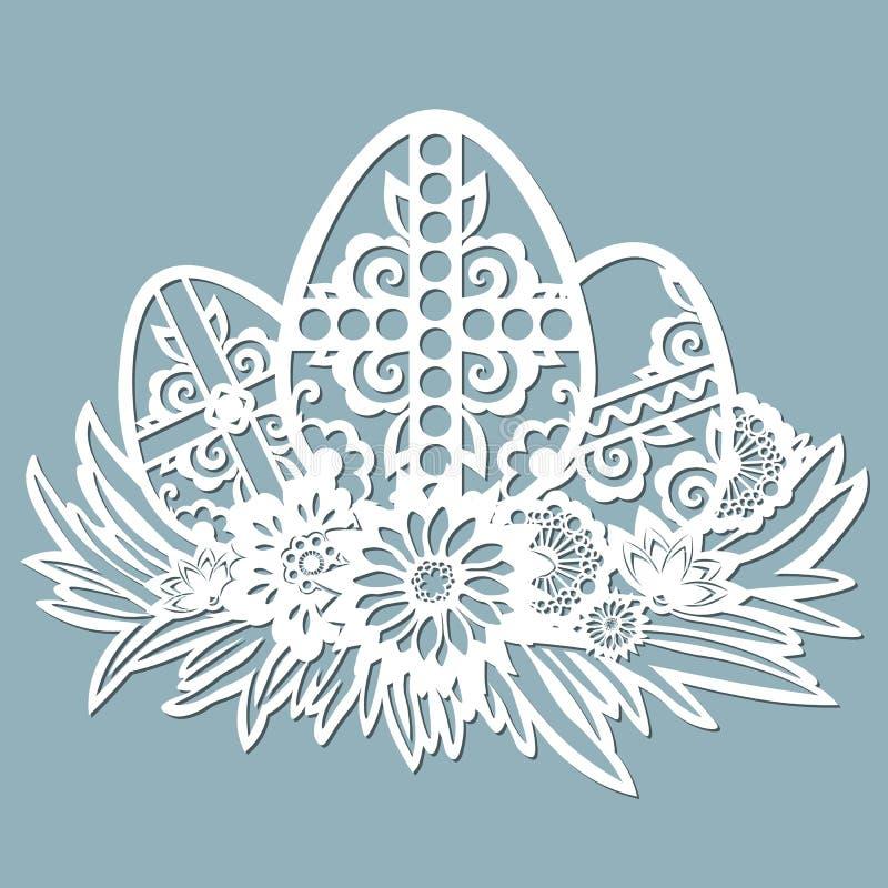 Free Dandelion, Grass, Bell, Cross, Leaves, Flowers, Chamomile Carved In Egg. Vector Illustration. Easter Eggs For Easter Holidays. Set Stock Photos - 142450523