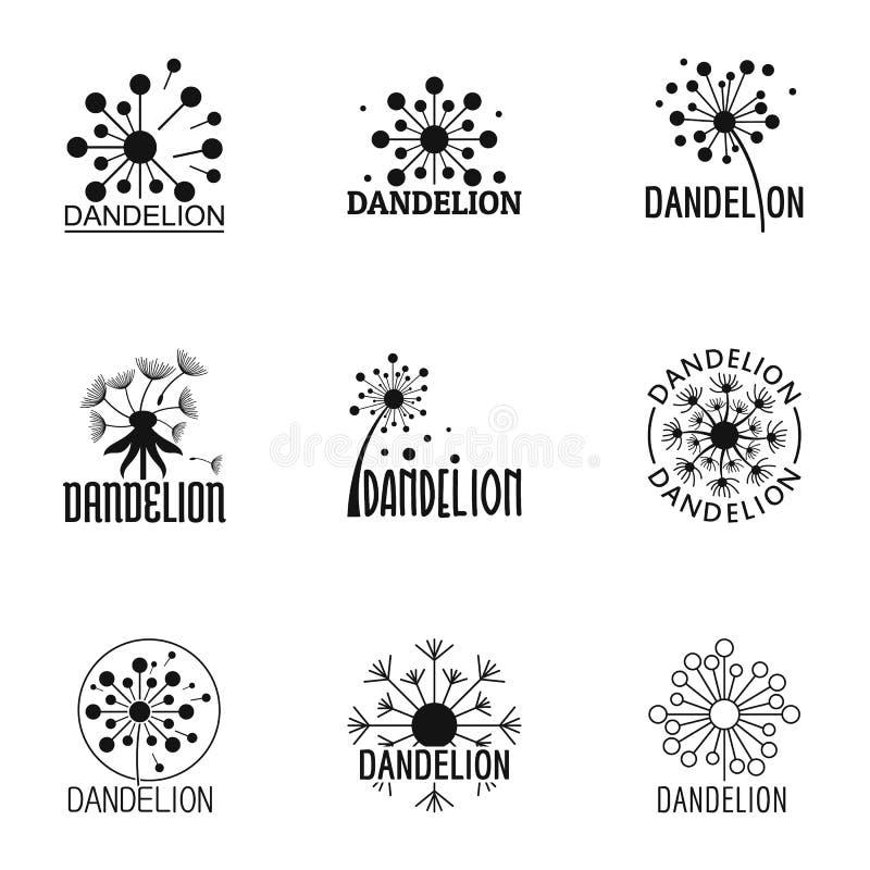 Dandelion kwiatu ikony ustawiać, prosty styl royalty ilustracja