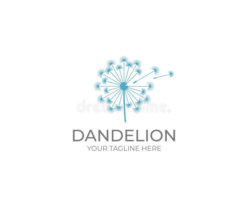 Dandelion loga szablon Taraxacum kwiatu wektorowy projekt royalty ilustracja
