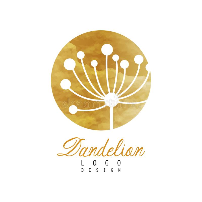 Dandelion logo design template. Gentle golden texture. Abstract icon of wild flower. Luxury vector label for fashion royalty free illustration