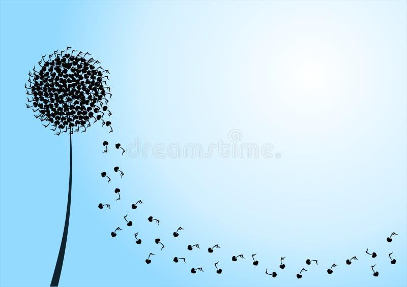 Dandelion Musical Silhouette Peace Card stock photo