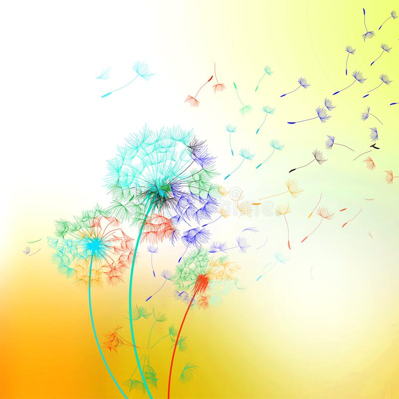 Free Dandelion On Multicolored Background - Vector. Stock Photography - 182103942
