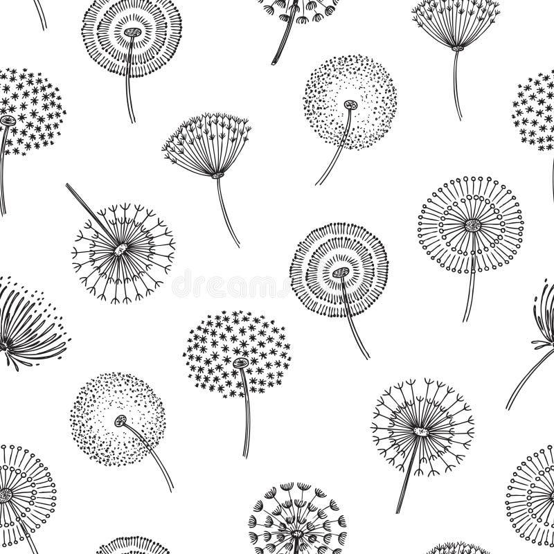 Dandelion seamless pattern. Dandelions grass pollen plant seeds blowing tranquil wind fluff flower macro nature vector. Spring texture. Dandelion seamless vector illustration