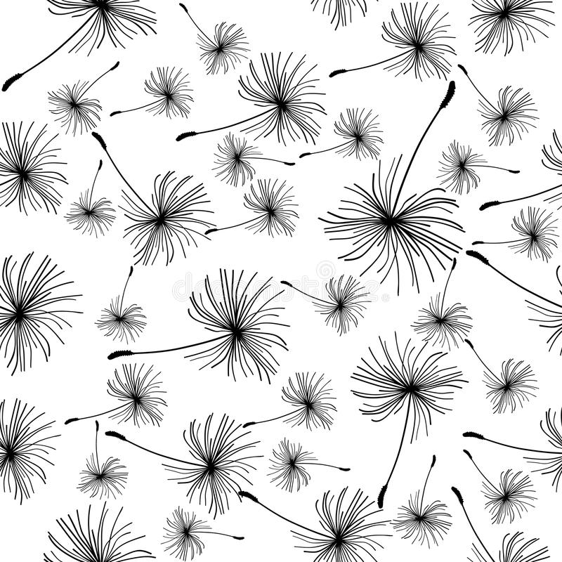 Dandelion Seeds Seamless Background. Stock Vector