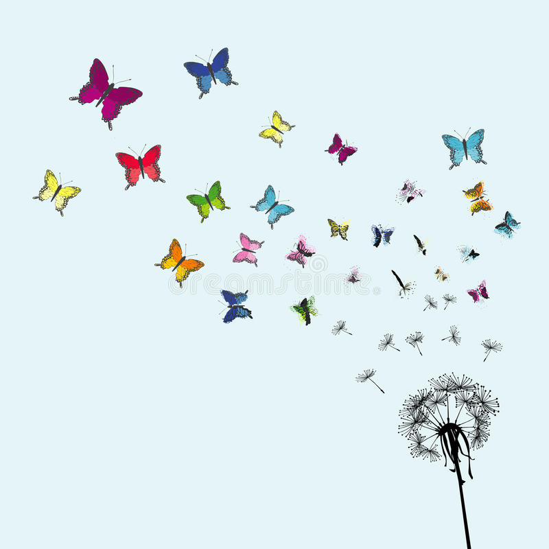 Dandelion seeds transforming into colorful butterflies royalty free illustration