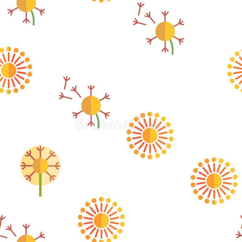 Dandelion, Spring Flower Vector Seamless Pattern. Dandelion, Spring Flower Vector Thin Line Icons Seamless Pattern. Dandelion, Blowball in Blossom Linear stock illustration