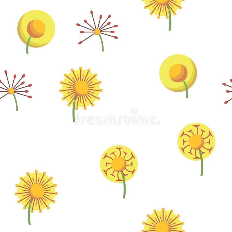 Dandelion, Spring Flower Vector Seamless Pattern. Dandelion, Spring Flower Vector Thin Line Icons Seamless Pattern. Dandelion, Blowball in Blossom Linear royalty free illustration