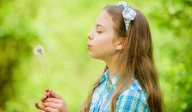 Dandelion. Spring holiday. Womens day. happy child hold blowball. Natural beauty. Childhood happiness. summer vacation. Rancho and country. little girl and royalty free stock photos