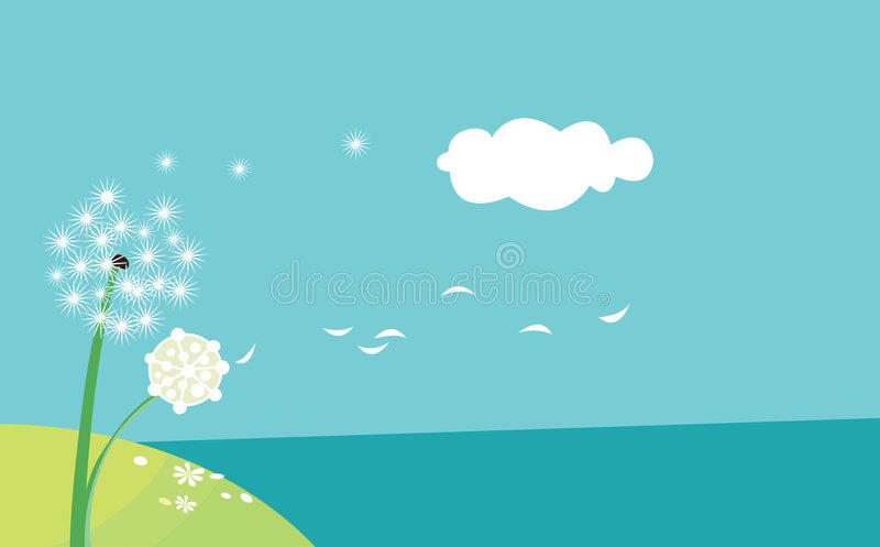 Download Dandelion in the wind stock vector. Image of fuzz, dandelion - 5740997