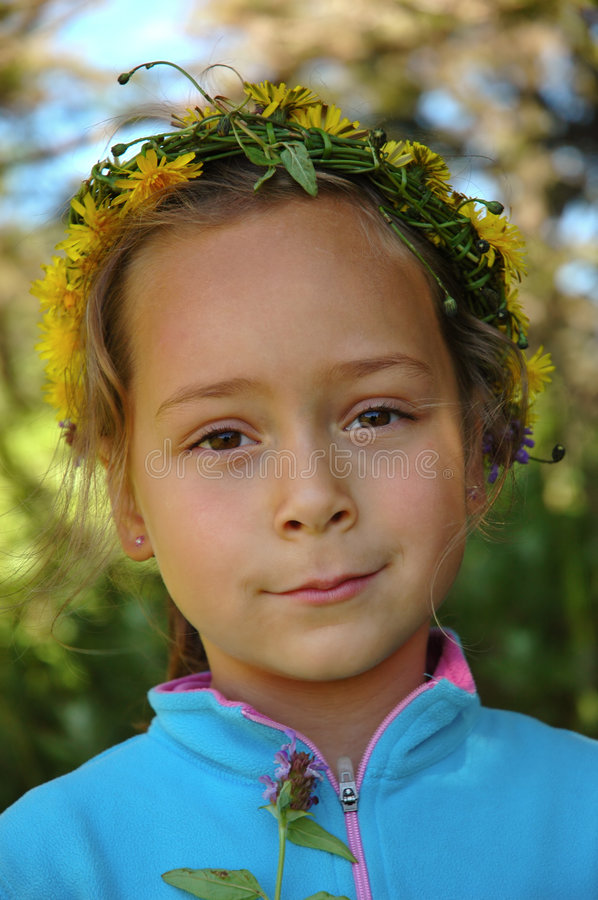 Download Dandelion Wreath stock image. Image of flora, hair, person - 7165219