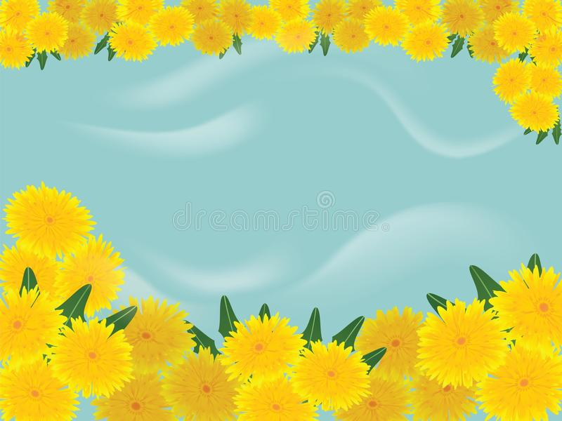 Dandelions błękita tło ilustracja wektor