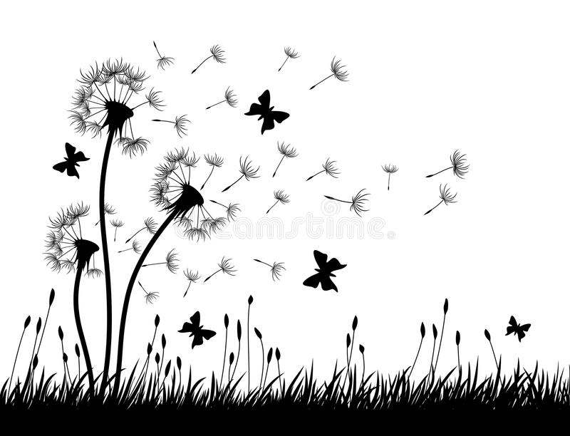 Download Dandelions With Butterflies Stock Vector