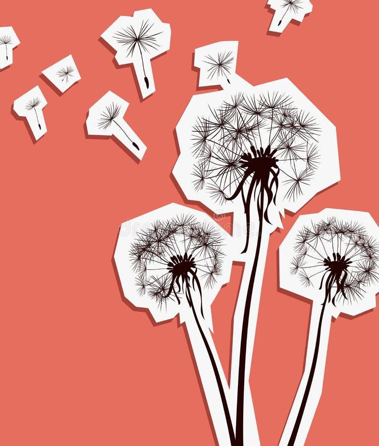 Dandelions w wiatrze ilustracja wektor