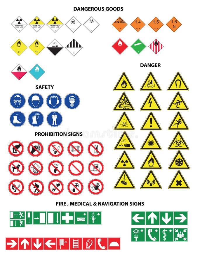 Danderous goods icons big set. Danderous goods icon set safety prohibition fire mediczl and navigation stock illustration