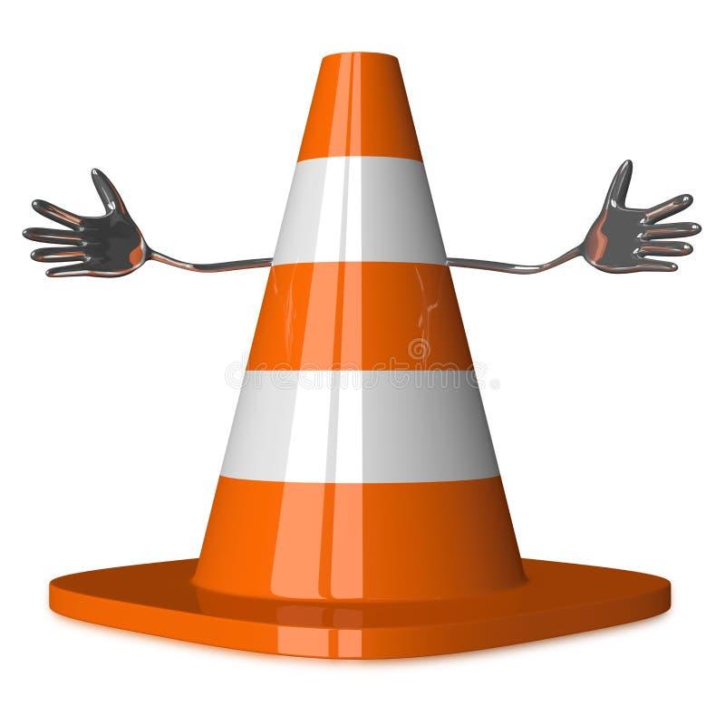 Dando boas-vindas ao caráter do cone do tráfego ilustração do vetor