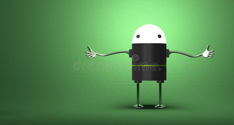 Dando boas-vindas ao robô com cabeça de incandescência ilustração royalty free