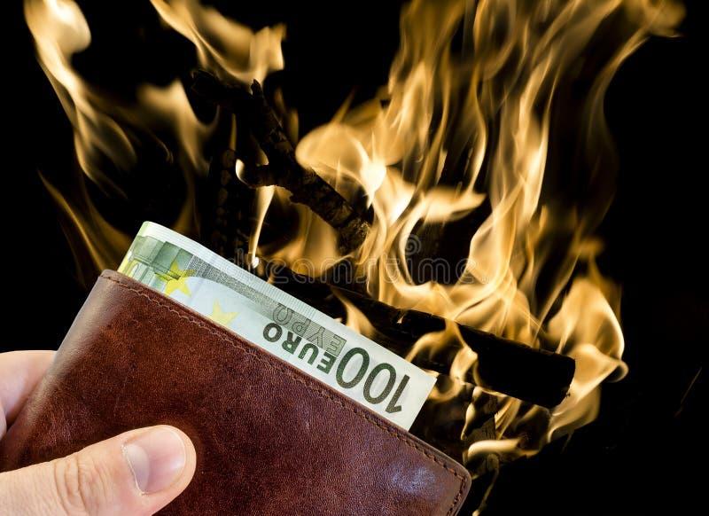 Download Dando Dono Dal Portafoglio Di Cuoio Marrone Con Cento Euro Con Fuoco Bruciante Isolato Immagine Stock - Immagine di cuoio, carta: 56891703