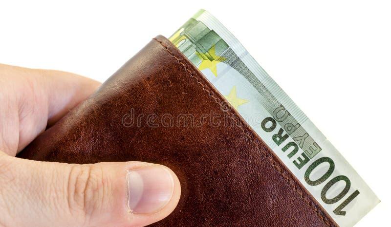 Download Dando Dono Dal Portafoglio Di Cuoio Marrone Con Cento Euro Isolati Immagine Stock - Immagine di dollaro, finanza: 56891697