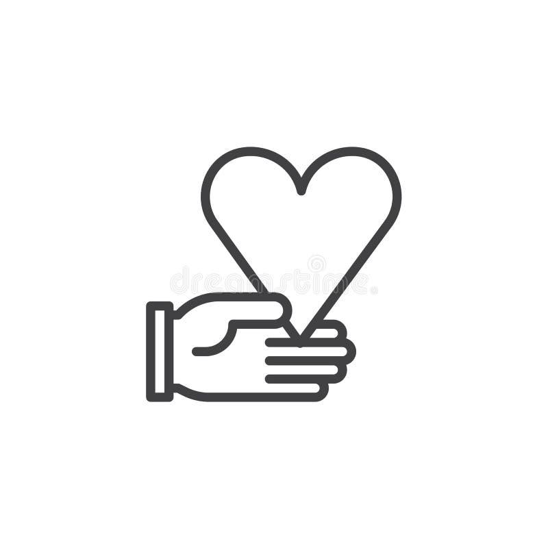 Dando a linha de mão ícone do coração ilustração do vetor