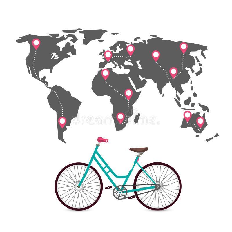 Dando um ciclo em todo o mundo com rotas, pinos e mapa do mundo ilustração do vetor