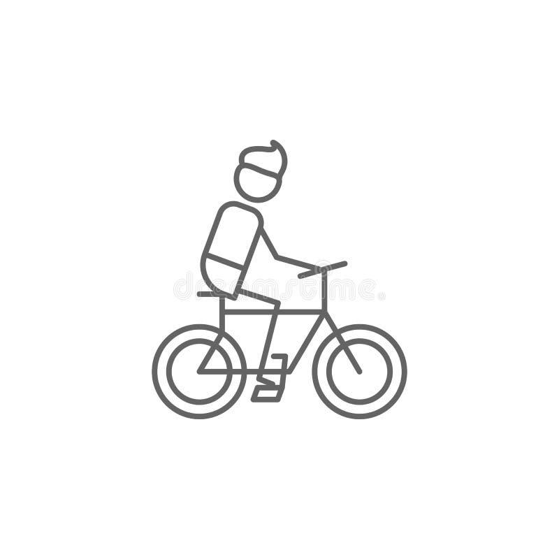 Dando um ciclo, esporte, ícone da aventura Elemento do ?cone da aventura Linha fina ?cone para o projeto do Web site e o desenvol ilustração stock