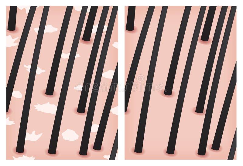 Dandruff i żadny dandruff skóra royalty ilustracja