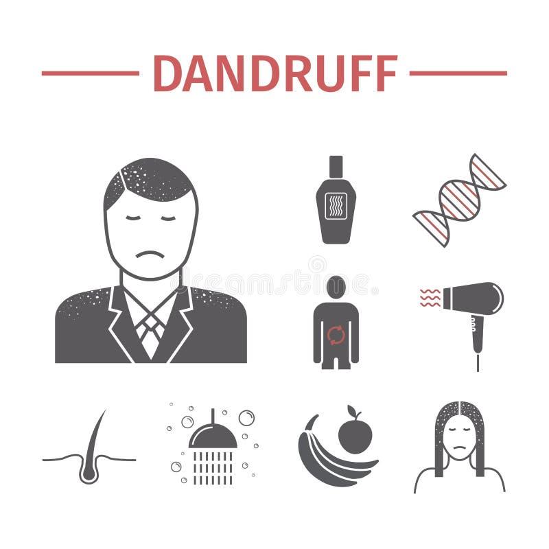 Dandruff płaskie ikony ustawiać wektor royalty ilustracja