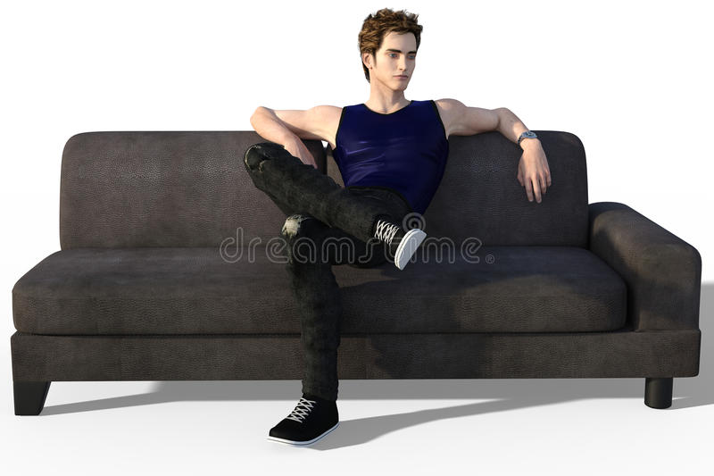 Dandy on sofa. 3d render of handsome dandy in dark outfit sitting on a modern style leather sofa royalty free illustration