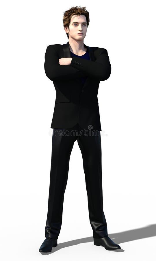 Dandy in zwarte stock illustratie
