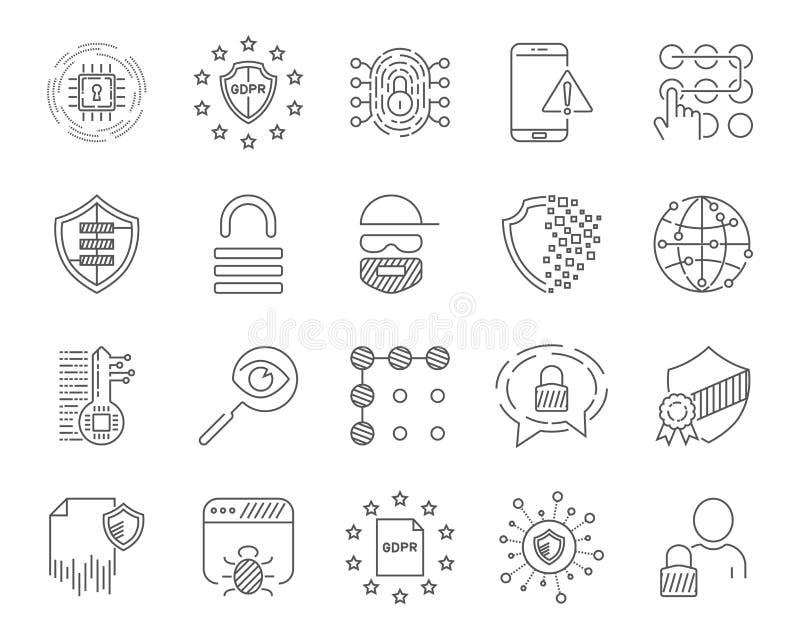 Dane analityczni, ochrona i socjalny sieci ikony ustawiać, Editable uderzenie 10 eps ilustracja wektor
