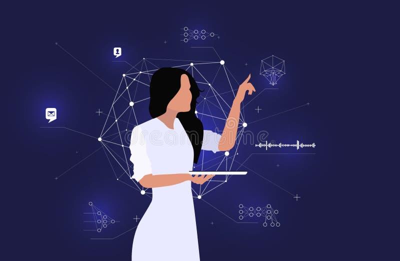 Dane analityk modeluje inteligentnego system Duzi dane i deseniowy rozpoznanie royalty ilustracja
