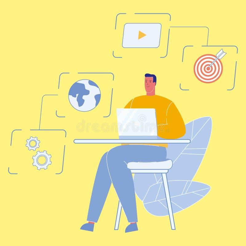 Dane analityk Pracuje na laptopu wektoru ilustracji royalty ilustracja