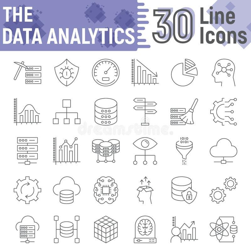 Dane analityka cienieją kreskowego ikona set, baza danych znaki ilustracja wektor