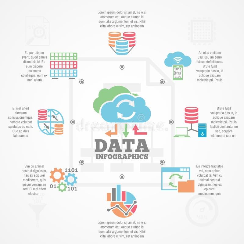 Dane analityka Infographic ikon Płaski sztandar ilustracji