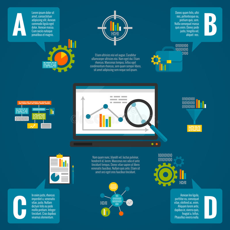 Dane analityka infographic set royalty ilustracja