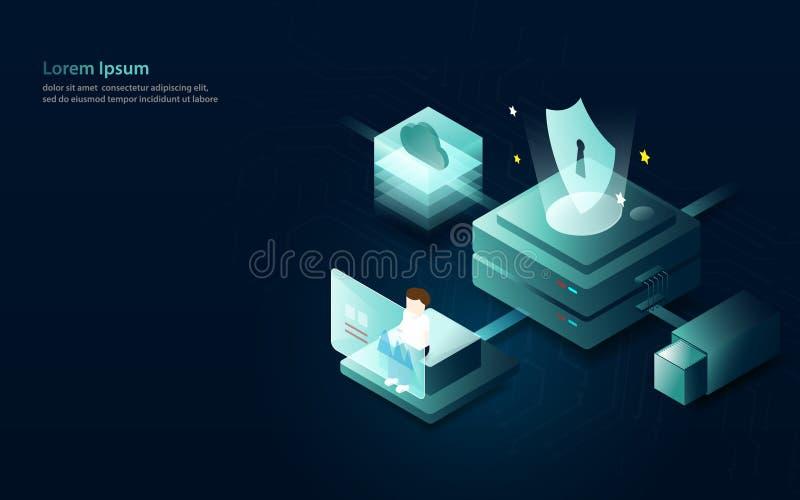 Dane analityka interneta ochrony pojęcie Płaski i isometric stylowy projekt ilustracji