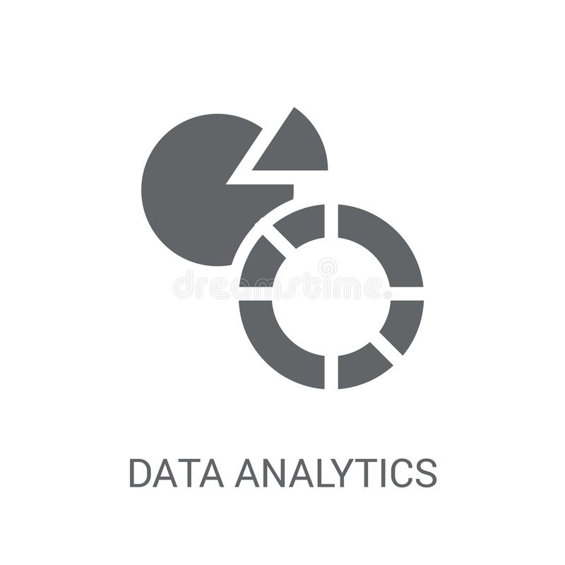 Dane analityka kurendy ikona Modnych dane analityka kółkowa bela ilustracja wektor