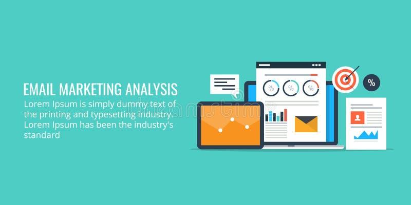 Dane analiza email kampania marketingowa - email marketingowe analityka Płaskiego projekta marketingowy sztandar royalty ilustracja