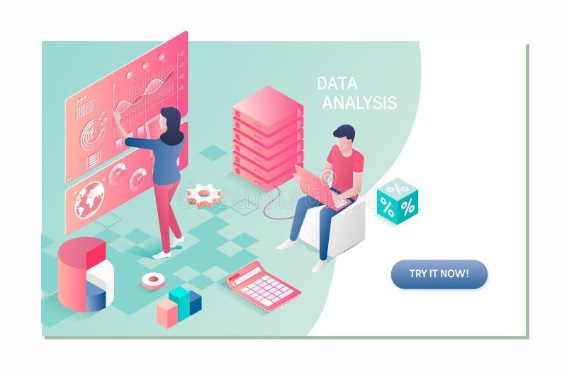 Dane analiza, wyszukiwarka optymalizacja, miejsce pozyci isometric pojęcie ilustracja wektor