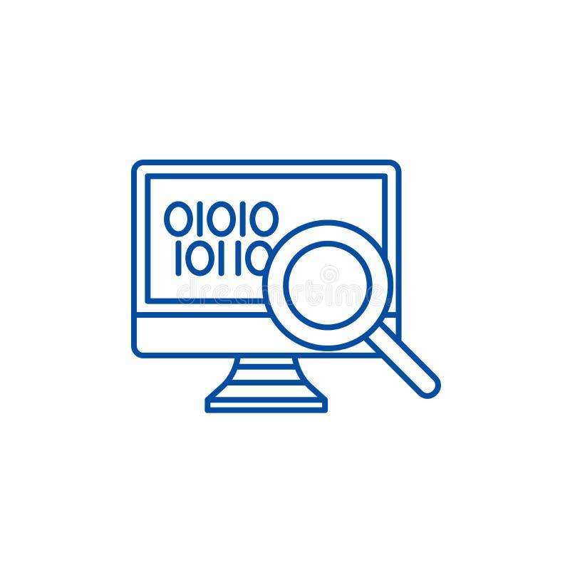 Dane analizy linii ikony pojęcie Dane analizy płaski wektorowy symbol, znak, kontur ilustracja royalty ilustracja