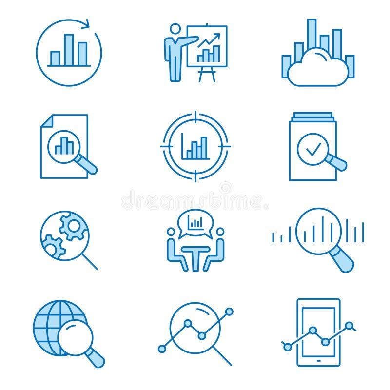Dane analizy mieszkania linii ikony set również zwrócić corel ilustracji wektora Editable uderzenie ilustracja wektor