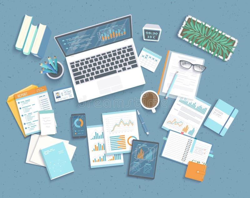 Dane analizy pojęcie Pieniężna rewizja, analityka, statystyki raportowe, strategiczny, zarządzanie Sporządza mapę grafika na lapt royalty ilustracja