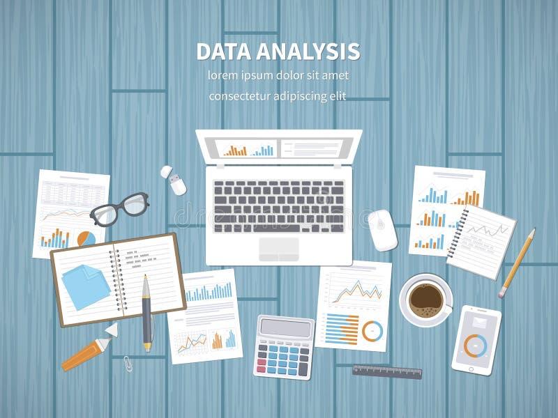 Dane analizy pojęcie Pieniężna rewizja, SEO analityka, statystyki raportowe, strategiczny, zarządzanie Mapy, grafika na ekranie ilustracji