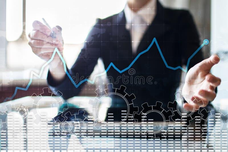 Dane analizy wykres na wirtualnym ekranie Biznes technologii i finanse pojęcie fotografia stock