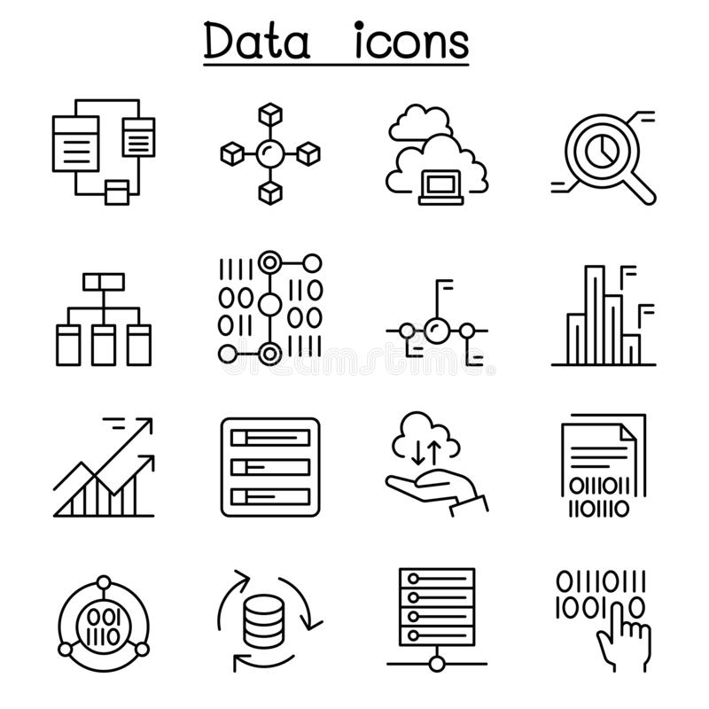 Dane, baza danych, wykres, mapa, diagram ikona ustawiaj?ca w cienkim kreskowym stylu royalty ilustracja