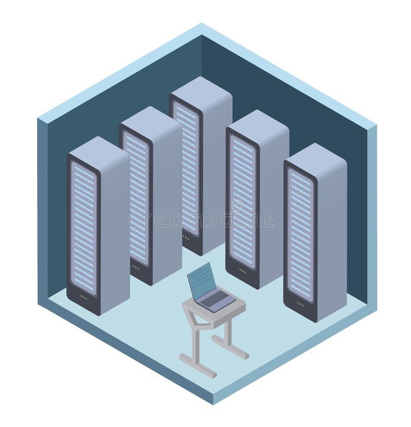 Dane centrum ikona, serweru pokój Wektorowa ilustracja w isometric projekci, odizolowywającej na bielu ilustracji